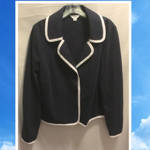 Size XL Crown & Ivy Blazer Jacket Navy Blue Knit